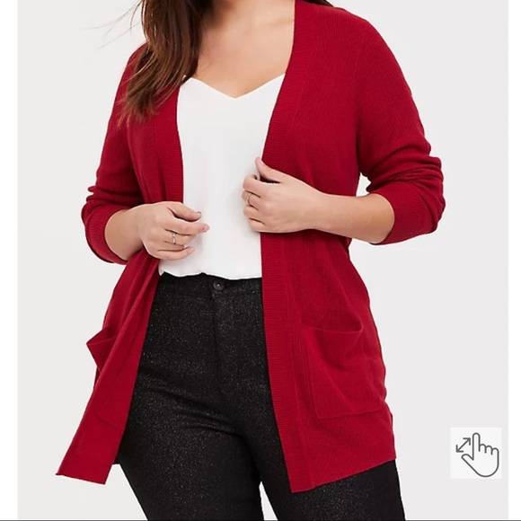 Red Rib Knit Open Front Cardigan